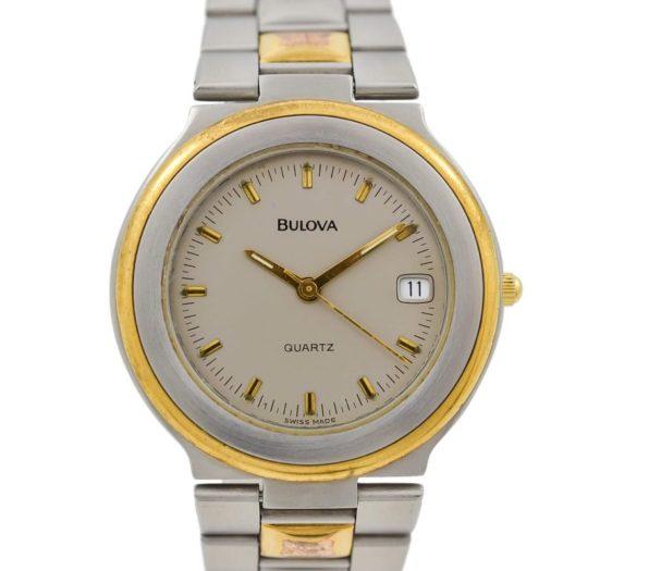 Vintage Bulova Stainless Steel Two Tone Quartz Midsize Watch mens
