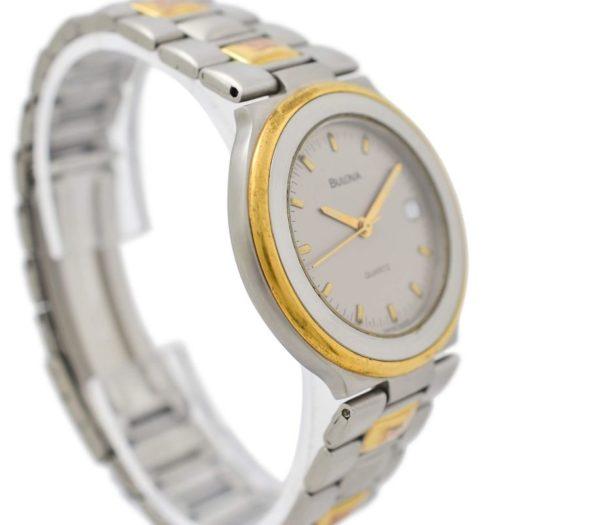 Vintage Bulova Stainless Steel Two Tone Quartz Midsize Watch 1990