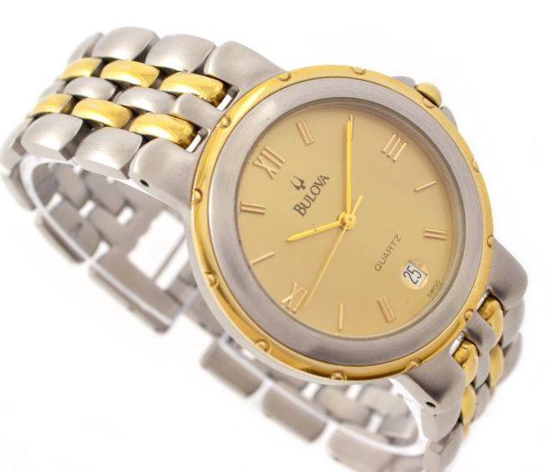 Bulova Date 18kgp/Stainless Steel Quartz Midsize Watch retro