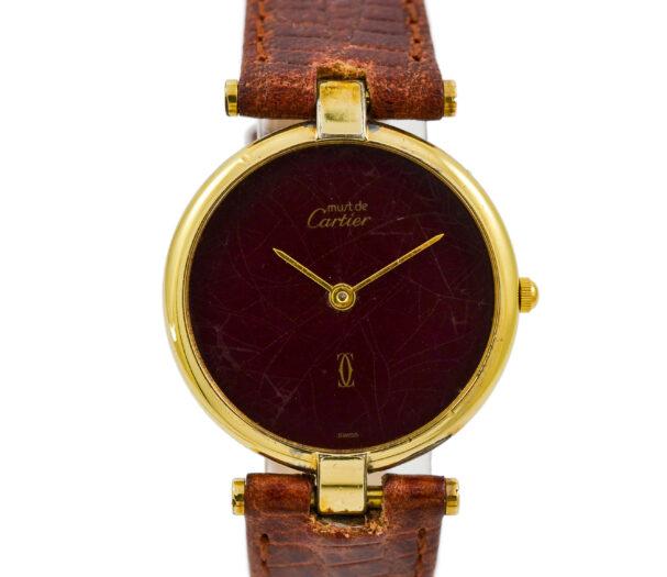 Vintage Must De Cartier Vermeil 92.5 Gold Plated Quartz Midsize Watch