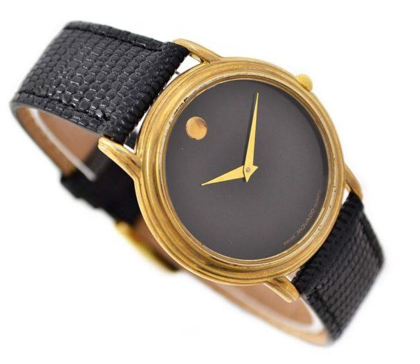 Vintage Movado Museum Gold Plated Midsize Dress Quartz Watch