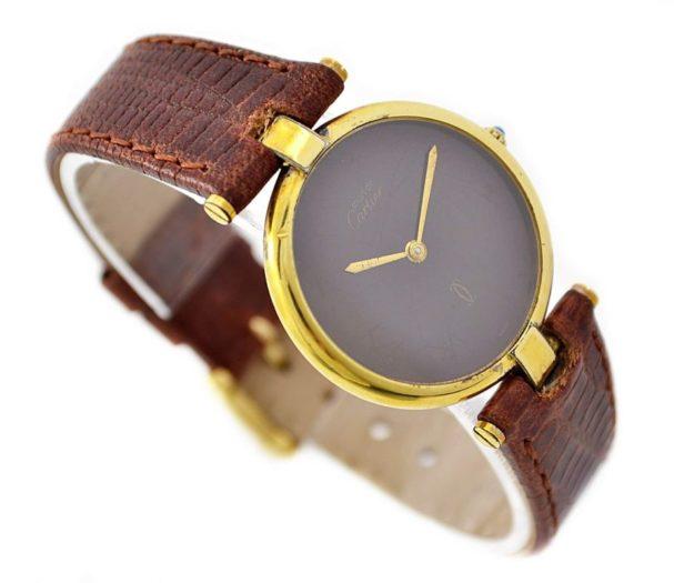 Vintage Must De Cartier Argent 925 Gold Plated Quartz Midsize Watch