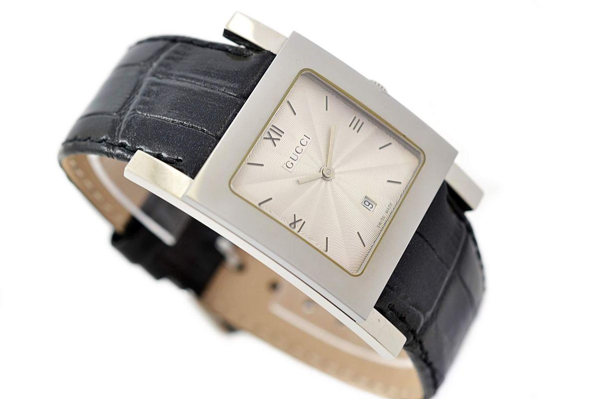 Vintage Gucci 7900M Stainless Steel Quartz Mens Watch leather