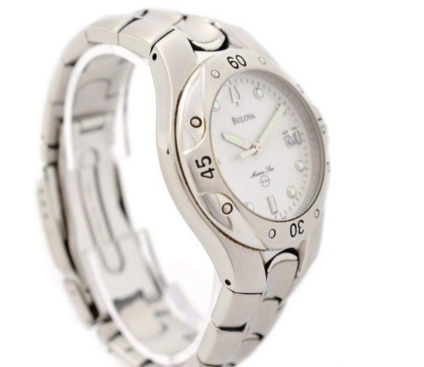 Pre-Owned Bulova Marine Star Date Quartz Men's Watch white
