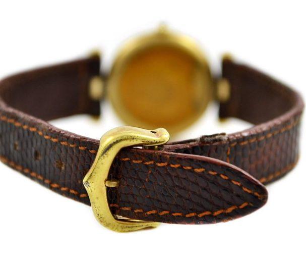Vintage Must De Cartier Vermeil Quartz 925 Gold Plated Ladies Watch leather