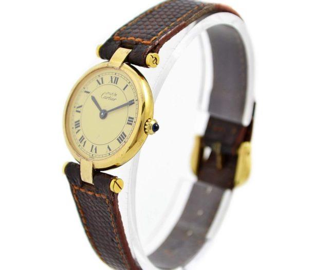 Vintage Must De Cartier Vermeil Quartz 925 Gold Plated Ladies Watch womens