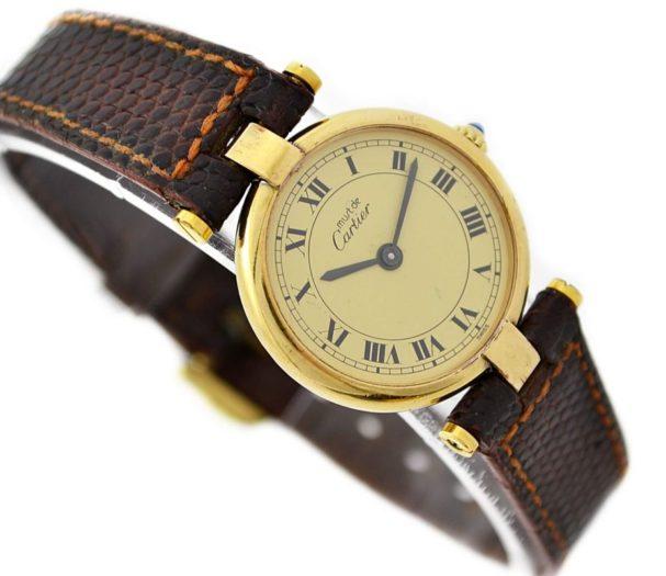 Vintage Must De Cartier Vermeil Quartz 925 Gold Plated Ladies Watch 1990