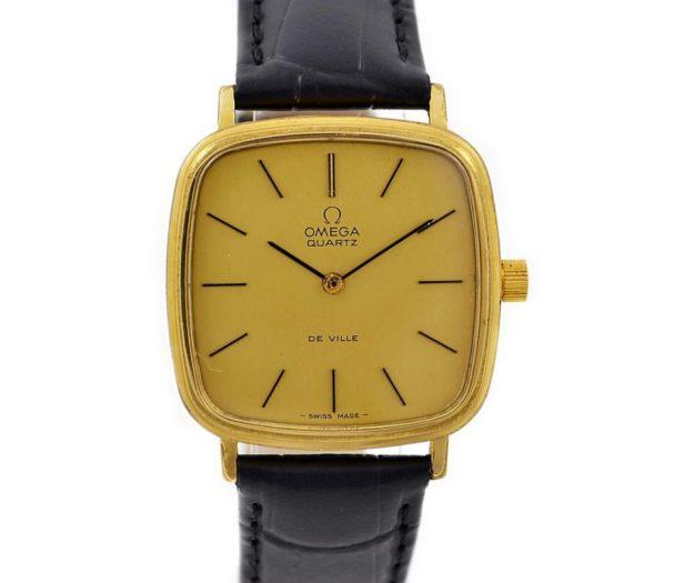 Pre-Owned Vintage Omega De Ville Cal.1280 Quartz Gold Plated Midsize Watch 191.0045 mens