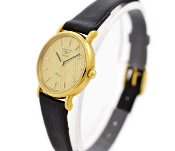 Vintage Longines Presence L.153.4 Quartz Gold Plated Ladies Watch leather