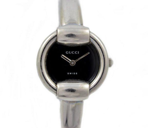 Vintage Gucci 1400L Stainless Steel Ladies Quartz Watch black