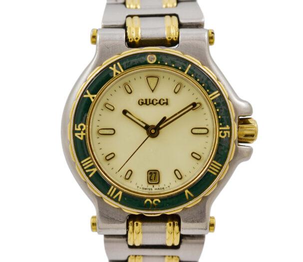 Vintage Gucci 9700L Stainless Steel Bi-Metal Quartz ladies Watch 1990