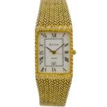 Vintage Bulova Quartz 9107801 Gold Plated Midsize Watch 2044