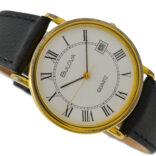 Vintage Bulova Classic Quartz Roman Dial Gold Plated Midsize Watch 2057